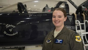 Capt. Jennifer Crum, a pilot assigned to the 13th Bomb Squadron, poses for a portrait on Feb. 19, 2019, at Whiteman Air Force Base, Missouri. Krum is one of six female pilots stationed at Whiteman. (U.S. Air Force photo by Staff Sgt. Kayla White)