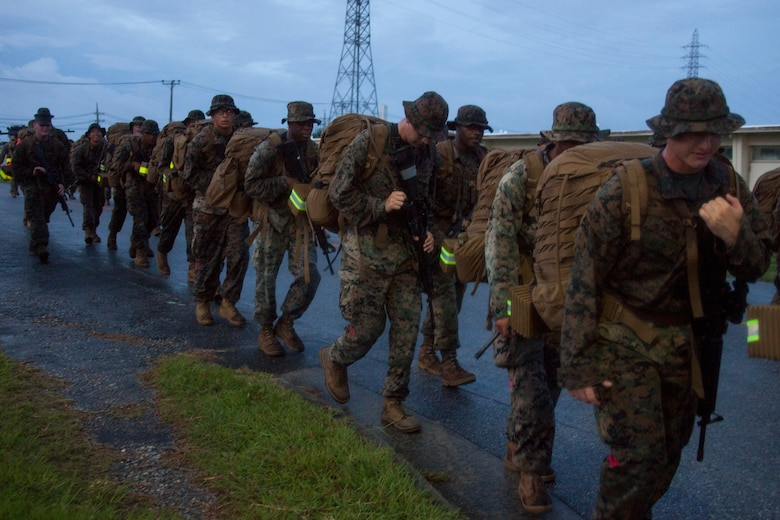 Marines with Maneuver Company, Combat Logistics Battalion 31, 31st Marine Expeditionary Unit, complete a conditioning hike, Camp Hansen, Okinawa, Japan, Sept. 6, 2019. Composed of engineers, motor transport and landing support, Maneuver Company was activated to optimize training while in garrison and to excel in distributed operations when deployed with the 31st MEU. The 31st MEU, the Marine Corps' only continuously forward-deployed MEU, provides a flexible and lethal force ready to perform a wide range of military operations as the premier crisis response force in the Indo-Pacific region.