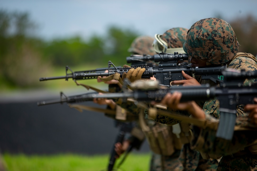 Marines with Maneuver Company, Combat Logistics Battalion 31, 31st Marine Expeditionary Unit, sight in during a live fire exercise at Camp Hansen, Okinawa, Japan, September 17, 2019. The 31st MEU, the Marine Corps' only continuously forward-deployed MEU, provides a flexible and lethal force ready to perform a wide range of military operations as the premier crisis response force in the Indo-Pacific region.