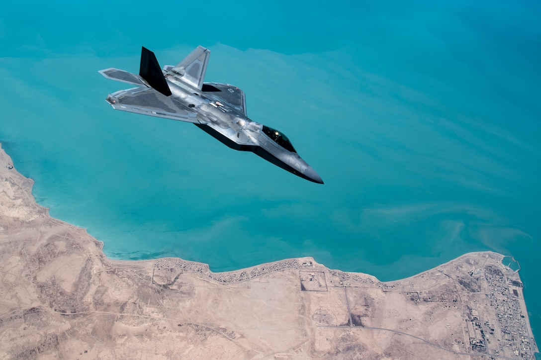 A U.S. F-22 Raptor conducts a combat air patrol mission over an undisclosed location in Southwest Asia, Sept. 13, 2019. The F-22, a critical component of the Global Strike Task Force, is designed to project air dominance, rapidly and at great distances and defeat threats attempting to deny access to our nation's Air Force, Army, Navy and Marine Corps. The F-22 cannot be matched by any known or projected fighter aircraft. (U.S. Air Force photo by Master Sgt. Russ Scalf)