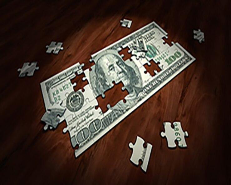 Puzzle piece of 100 dollar bill