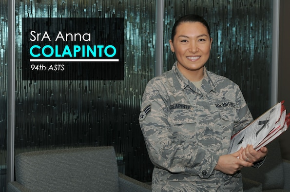 This week's Up Close features Senior Airman Anna Colapinto, a medical technician with the 94th Aeromedical Staging Squadron. Up Close is a series spotlighting individuals around Dobbins Air Reserve Base. (U.S. Air Force graphic/Tech. Sgt. Andrew Park; photo/Airman Kendra A. Ransum)