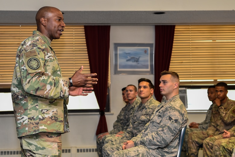 """Chief Master Sgt. of the Air Force Kaleth O. Wright speaks to students of Kirtland's Airmen Leadership School at Kirtland Air Force Base, N.M., Sept. 27, 2019. During his visit, Wright emphasized that each Airmen are a """"national treasure"""" and that Airmen should treat each other as such. (U.S. Air Force photo by Airman 1st Class Austin J. Prisbrey)"""