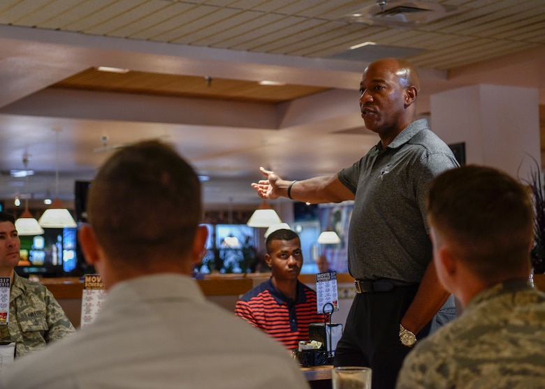 Chief Master Sgt. of the Air Force Kaleth O. Wright talks about leadership with Airmen at Kirtland Air Force Base, N.M., Sept. 28, 2019. Exceptional Airmen from various units at Kirtland were chosen to have breakfast with Wright, ask questions, and learn from the experiences that the chief has had in his Air Force career. (U.S. Air Force photo by Airman 1st Class Austin J. Prisbrey)