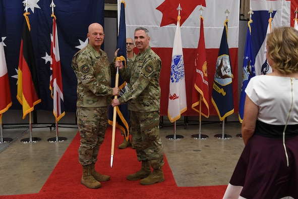 Maj. Gen. Stephen N. Whiting, 14th Air Force commander, assumes command of the Combined Force Space Component Command during the establishment ceremony Oct. 1, 2019, at Vandenberg Air Force Base, Calif.