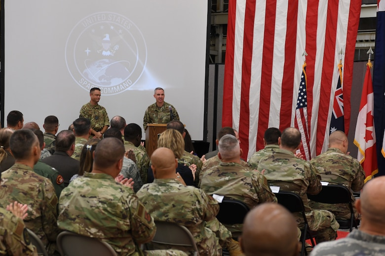 Maj. Gen. Stephen N. Whiting, the Combined Force Space Component Commander and 14th Air Force commander, speaks after assuming command of the CFSCC Oct. 1, 2019, at Vandenberg Air Force Base, Calif.