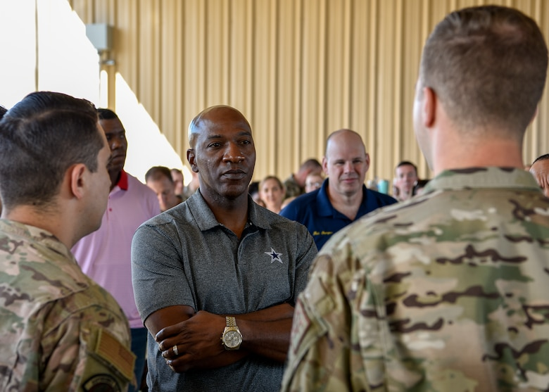 Chief Master Sgt. of the Air Force Kaleth O. Wright listens to the founding members of 'Airman 4 Airman' speak about the purpose of their group at Kirtland Air Force Base, N.M., Sept. 28, 2019. Airman 4 Airman is a group dedicated to increasing morale and speaking up for Airmen of all tiers around the world. (U.S. Air Force photo by Airman 1st Class Austin J. Prisbrey)