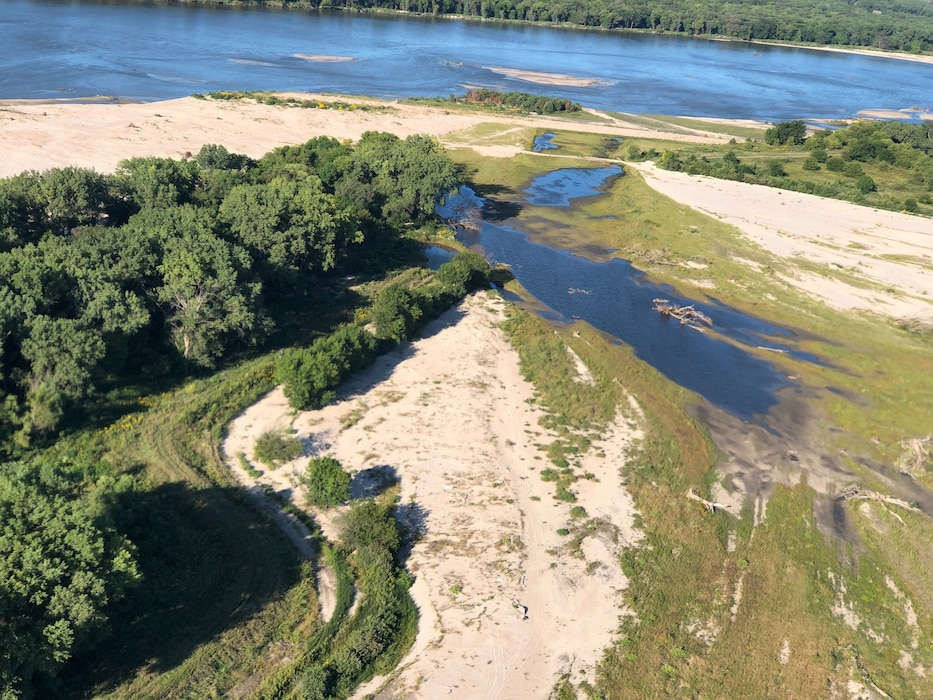 Aerial view of the Ames Diking levee breach taken on Sep. 13, 2019