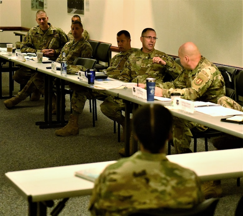 Chief Master Sgt. Stanley Cadell (second from right) provides a headquarters perspective on an Airman issue during the inaugural AFMC Command Chief Orientation, Oct. 1, at Wright-Patterson Air Force Base, Ohio. The two day event, was designed to familiarize new AFMC wing and center command chiefs with the overall organizational mission and how their units fit into the bigger picture. (Air Force Photo by Darrius Parker/released)