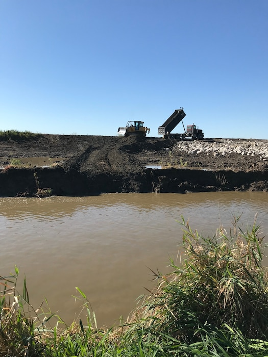 Ongoing construction to repair the L-594 breach location approximately 0.5 miles south of Bartlett, Iowa. Photo taken on Sep. 23, 2019.