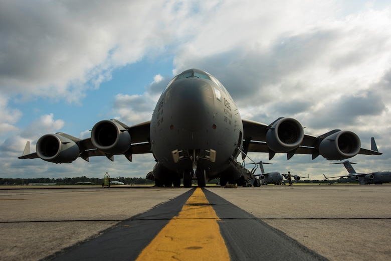 A U.S. Air Force C-17 Globemaster III assigned to the 437th Airlift Wing, is parked on the flight line Sept. 26, 2019 at Joint Base Charleston, S.C. The C-17 Globemaster was prepped by maintenance Airmen before taking off for a training mission. Training missions allow aircrew to maintain currency, training and evaluations in all flying requirements. These training capabilities allow 14th Airlift Squadron Aircrew members to enhance rapid global mobility anytime, anywhere.