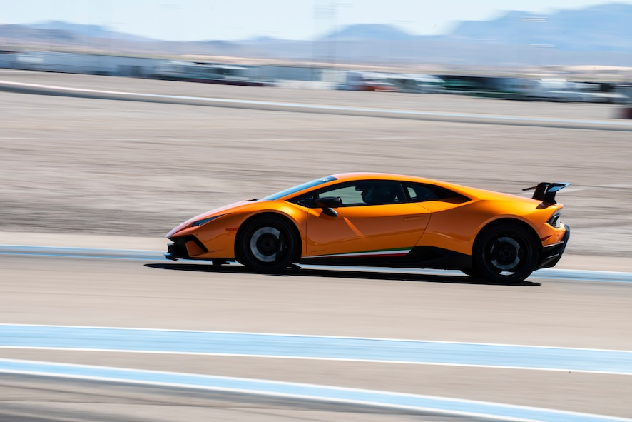 A Lamborghini racing on a track in Las Vegas