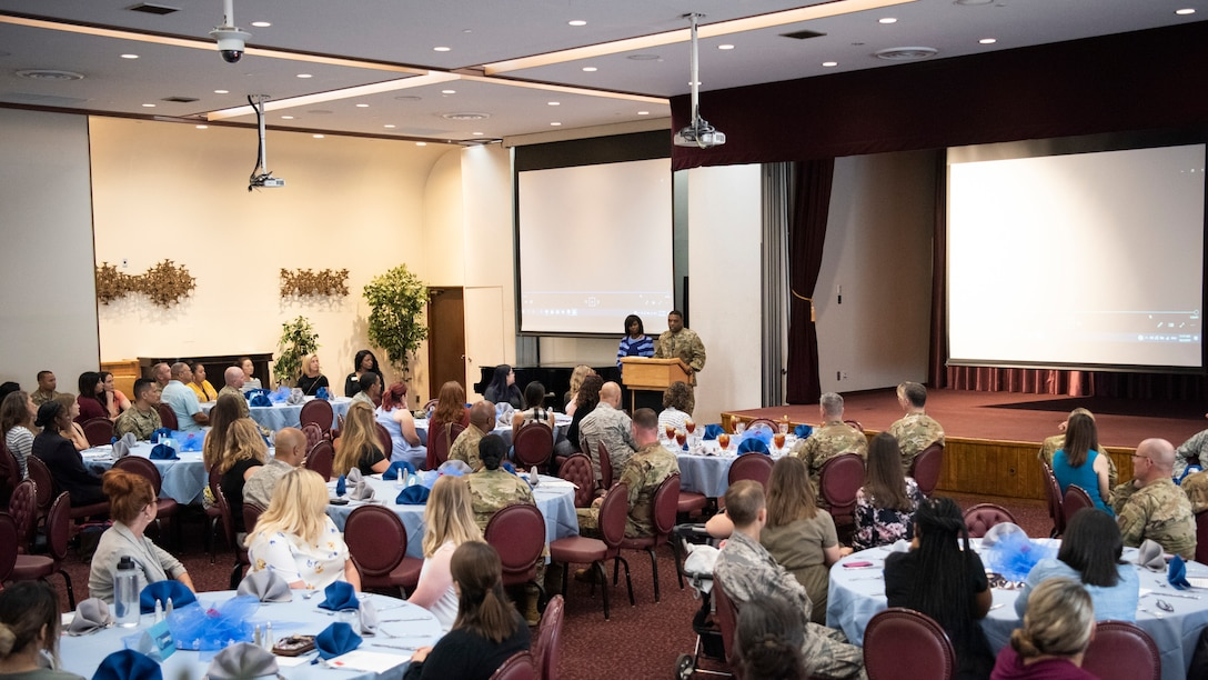 Col. Otis C. Jones, 374th Airlift Wing commander, gives opening remarks during the Key Spouse lunch and learn on Oct. 2, 2019, at Yokota Air Base, Japan.