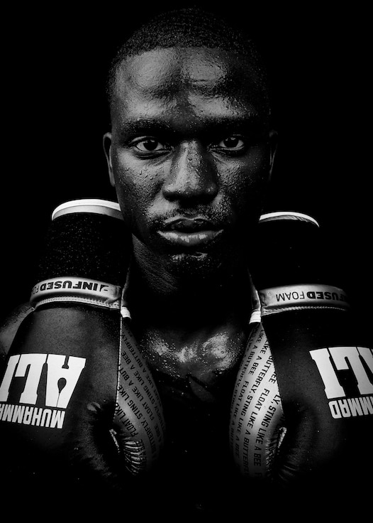 .U.S. Air Force Senior Airman Kristopher Allison, 377th Security Forces Squadron patrolmen, poses for a portrait at Kirtland Air Force Base, N.M., June 7, 2019.  Allison made his return to boxing Sept. 28, 2019, after taking time off due to a back injury caused by a deadly car crash. Allison won his fight in the third round by technical knock out.