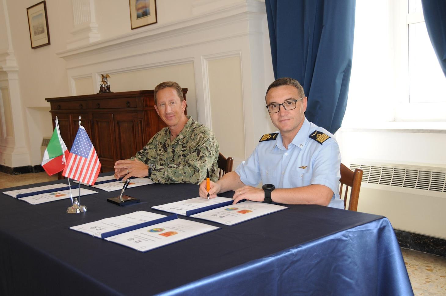 Naples Commanding Officer Capt. Todd Abrahamson, left, and Italian Base Commander Col. Stefano Ferramondo pose for a picture