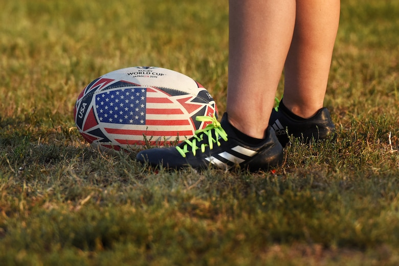 A ball rests in the grass during a rugby game Sept. 14, 2019, at Incirlik Air Base, Turkey. Rugby is considered to be one of the ancestor sports to American football. (U.S. Air Force Photo by Staff Sgt. Joshua Magbanua)