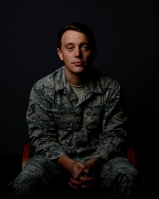 Staff Sgt. Bryan Hersey, 100th Comptroller Squadron budget analysis assigned to RAF Mildenhall, poses for photo at Royal Air Force Lakenheath, England, Oct. 3, 2019. Hersey, a recovering alcoholic, went through the Alcohol and Drug Abuse Prevention Treatment program this past year. (U.S. Air Force photo by Airman 1st Class Rhonda Smith)