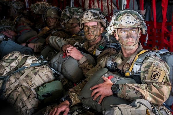 Soldiers from the U.S. Army's 173rd Infantry Airborne Brigade prepare for an airdrop during Saber Junction 2019 (SJ19) September 18, 2019, at Ramstein Air Base, Germany. SJ19, an exercise involving nearly 5,400 participants from 16 ally and partner nations and the U.S. Army's Grafenwoehr and Hohenfels Training Areas, is designed to assess the readiness of the U.S. Army's 173rd Infantry Airborne Brigade to execute land operations in a joint environment and to promote interoperability with allies and partner nations.