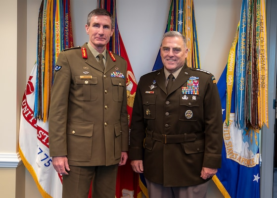 Chairman of the Joint Chiefs of Staff Gen. Mark A. Milley met with Chief of the Australian Defence Force Gen. Angus Campbell in the Pentagon, Oct. 2, 2019.