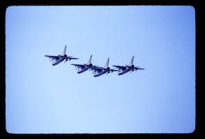 A-7 aircraft from the Colorado Air National Guard flying in formation.