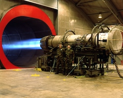 F-16 Jet Engine on Test Stand at Buckley AFB, CO.