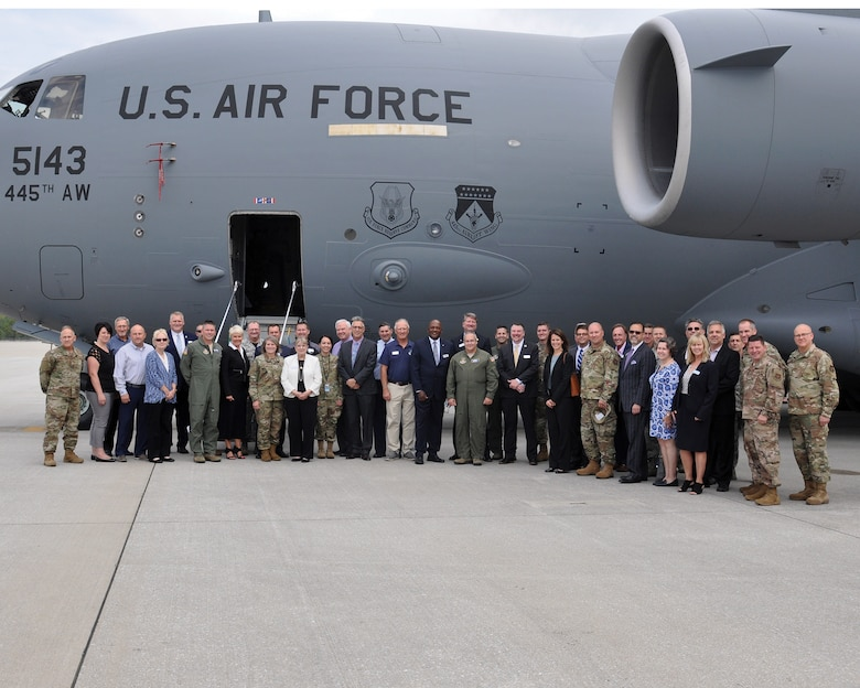 Commanders from 445th Airlift Wing and 655th Intelligence, Surveillance and Reconnaissance Wing pose for a group for with their honorary commanders, Sept. 6, 2019. Eighteen members from the surrounding communities were officially designated as honorary commanders in an official ceremony.