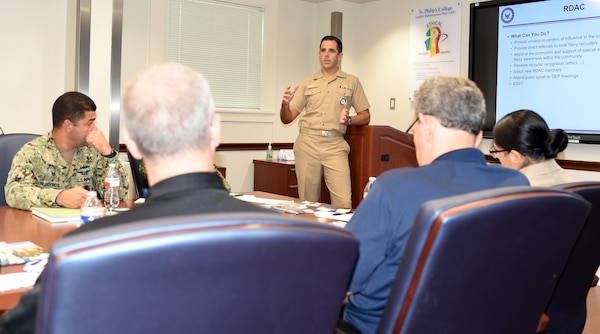 Cmdr. Nicholas Gamiz, commanding officer of Navy Recruiting District San Antonio, hosted a Recruiting District Assistance Council meeting at St. Philip's College's Good Samaritan Veterans Outreach and Transition Center Sept. 26. Members of the community to include retired service members, civic groups, educators, and business representatives attended. Gamiz briefed the attendees on the organization of the recruiting district to include its successes and challenges.