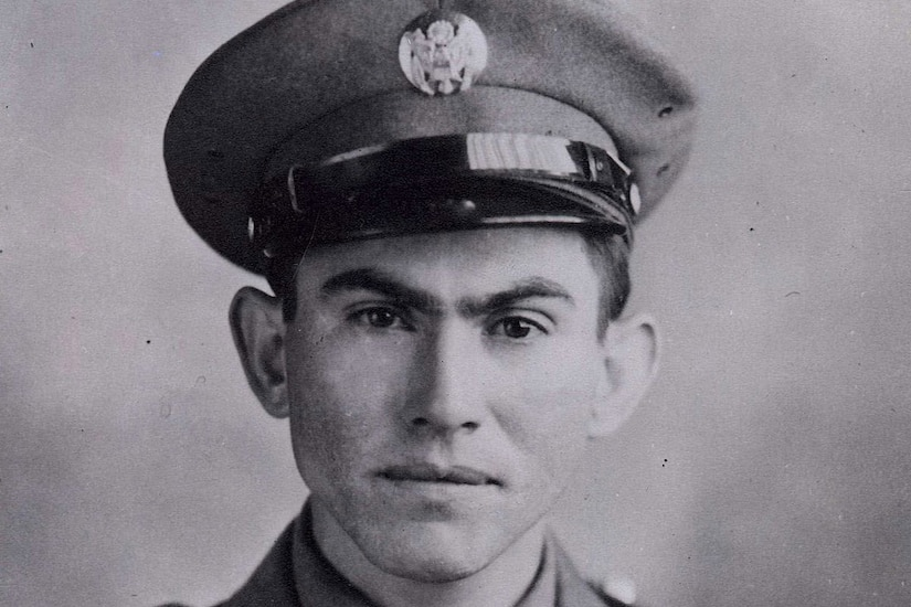 Black and white photo of Army Pvt. Pedro Cano in a World War II uniform
