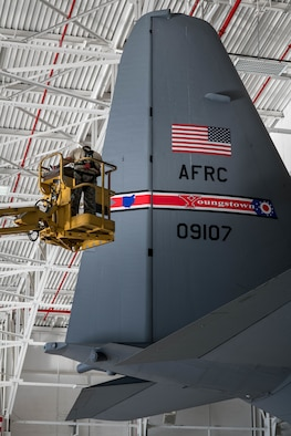 Each aircraft is adorned with the Air Force Reserve Command shield decal to designate the Air Force command that the aircraft is assigned to, as well as Youngstown Air Reserve Station's tail flash to designate aircraft's installation.