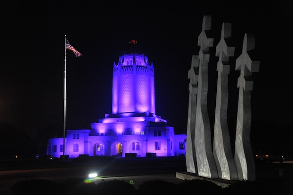 The Taj Mahal at Joint Base San Antonio-Randolph is illuminated in purple throughout October in observance of Domestic Violence Awareness and Prevention Month. In the military, domestic violence prevention is critical because of abuse's impact on families and the mission.