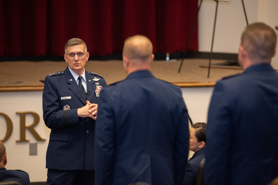 "Gen. Tim Ray, Air Force Global Strike Command commander, speaks with members of Officer Training School's ""Godzilla"" class 19-07 during a commissioning ceremony Sept. 27, 2019, at Maxwell Air Force Base, Ala. Class 19-07, dubbed internally as ""Godzilla,"" started with more than 800 officer trainees, effectively double the average class size."