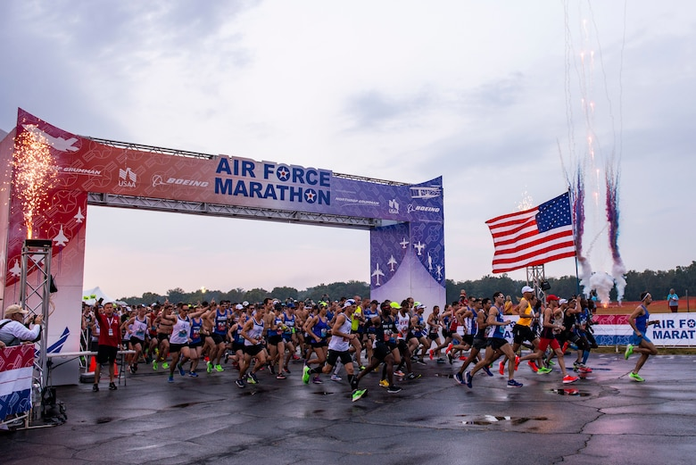 Fireworks go off at the start off the Air Force Marathon held on Sept. 21 at Wright-Patterson Air Force Base, Ohio. Fireworks at the start line was added to this year's marathon to add more excitement and entertainment to the race. (U.S. Air Force photo/Wesley Farnsworth)