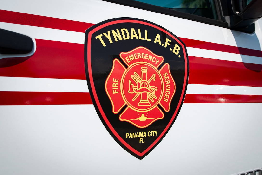 A Tyndall Air Force Base Fire Emergency Services vehicle sits parked in preparation for Fire Prevention Week Oct. 1, 2019 on base. Fire Prevention Week is a national observance which works to raise public awareness of fire and home safety. (U.S. Air Force photo by Airman 1st Class Bailee A. Darbasie)