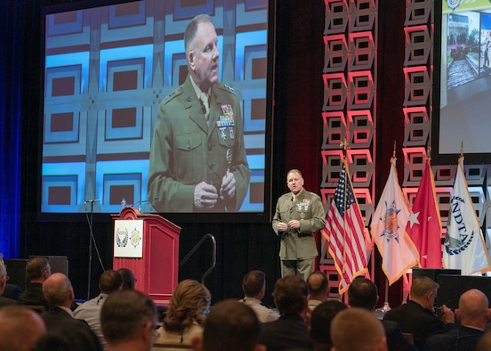 Former U.S. Transportation Command Deputy Commander, U.S. Marine Corps Lt. Gen. John Broadmeadow, speaks at the 2018 National Defense Transportation Association-U.S. Transportation Command Fall Meeting, Gaylord Convention Center, National Harbor, Oxen Hill, Maryland.  The seventh-annual NDTA-USTRANSCOM Fall Meeting, occurring Oct. 7-10, 2019, Union Station, St. Louis, Missouri, features five keynote speakers including USTRANSCOM Commander U.S. Army General Stephen Lyons; U.S. Secretary of Transportation Elaine Chao; Assistant Secretary of Defense for Sustainment Robert McMahon; American Roll-On Roll-Off Carrier President and Chief Executive Officer Eric Ebeling; and FedEx Chief Economist Dr. Tim Mullaly. (Photo by Osmin Suguitan, USTRANSCOM/PA)