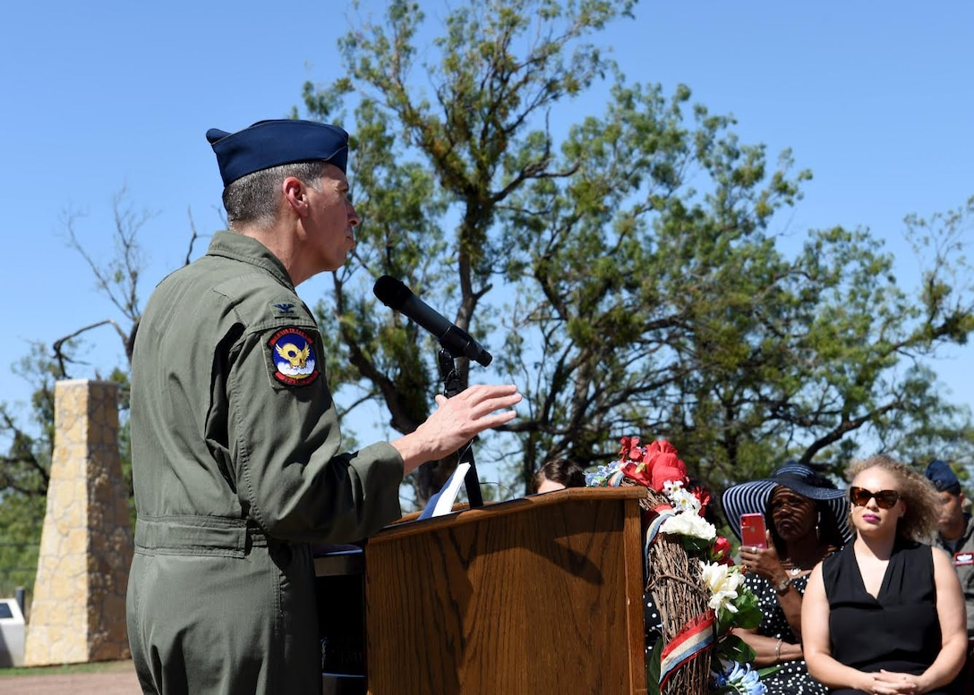 Col. Jeffery Menasco, 317th Airlift Wing commander, speaks to TORQE 62 family members and friends in Abilene, Texas, Oct. 2, 2019.
