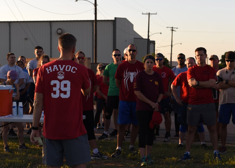 Airmen assigned to Dyess Air Force Base, Texas, gather for the TORQE 62 Memorial Run Oct. 2, 2019.