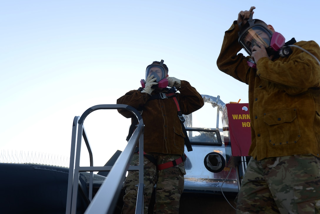 28th Maintenance Squadron Additive Manufacturing Rapid Repair Facility Airmen put on gas masks at the South Dakota Air and Space Museum in Box Elder, S.D., Sept. 18, 2019. The Airmen must wear protective gear so the spherical aluminum particles that shoot out at supersonic speeds do not get into their lungs, as well as the other gases used. (U.S. Air Force photo by Airman Quentin K. Marx)