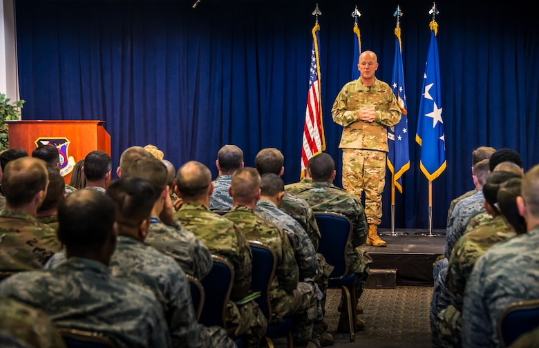 Gen. Jay Raymond, U.S. Space Command and Air Force Space Command commander, visits the Space and Missile Systems Center (SMC), Los Angeles Air Force Base, El Segundo, Calif., Oct. 1, 2019. Gen. Raymond spoke with Airmen about the recent standup of U.S. Space Command and the critical role SMC plays in speeding up the acquisition process and delivering space capabilities.  (U.S. Air Force photo by Van De Ha)