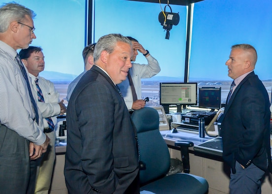 Thomas Fischer, Air Force Life Cycle Management Center Director of Engineering and Technical Management, headquartered at Wright-Patterson Air Force Base, Ohio, visits the air traffic control tower at Plant 42, in Palmdale, California, Oct. 3. (U.S. Air Force photo by Giancarlo Casem)