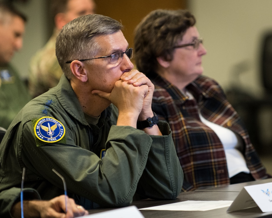 Gen. Tim Ray, Air Force Global Strike Command commander, receives a briefing on a Portfolio-level Digital Engineering Platform at the Cyber Innovation Center, Bossier City, Louisiana, Sept. 27, 2019.