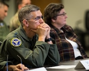 Gen. Tim Ray, Air Force Global Strike Command commander, receives a briefing on a Portfolio-level Digital Engineering Platform at the Cyber Innovation Center, Bossier City, Louisiana, Sept. 27, 2019. The presentation began with a briefing on the progress of the months-long project, leading into an interactive software demonstration showcasing digital tools with the potential to aggregate and analyze data sets, and make data more useful for decision makers. (U.S. Air Force photo by Airman 1st Class Lillian Miller)