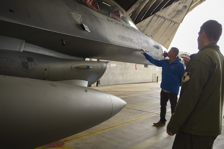 The Alcorn family visited the 52nd Fighter Wing touring the 480th FS, an F-16 Fighting Falcon and a memorial site that honored his late father and other members from the 52nd FW that made the ultimate sacrifice.