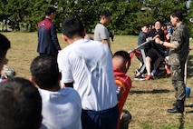 U.S. Air Force 8th Fighter Wing and Republic of Korea 38th Fighter Group compete in tug-of-war during Friendship Day at Kunsan Air Base, Republic of Korea, Oct. 4, 2019. Throughout the day Airmen from the U.S. and ROK competed in nine different events with the 8th Mission Support Group winning overall. (U.S. Air Force photo by Staff Sgt. Joshua Edwards)