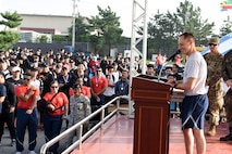 U.S. Air Force Col. Tad Clark, 8th Fighter Wing commander, provides closing remarks for Friendship Day at Kunsan Air Base, Republic of Korea, Oct. 4, 2019. During Friendship Day, the 8th FW and Republic of Korea Air Force 38th Fighter Group competed in a series of events including golf, soccer and basketball. (U.S. Air Force photo by Staff Sgt. Joshua Edwards)