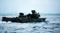 U.S. Marines with 3rd Marine Division conduct ship-to-shore movements in Assault Amphibious Vehicles (AAV) before the start of exercise Tiger Strike 19 in the Celebes Sea, Malaysia, on Sept. 30, 2019. Utilizing AAVs, Marines disembarked the USS Green Bay (LPD-20), landed on Blue Beach, Malaysia, then brought back members of the Malaysian Armed Forces (MAF) aboard the vessel to participate in the opening ceremony for exercise Tiger Strike 19 and a tour. Tiger Strike 19 focuses on strengthening joint military interoperability and on increasing readiness by practicing for humanitarian assistance, disaster relief, amphibious and jungle warfare operations, all while fostering cultural exchanges between the MAF and the U.S. Navy, Marine Corps team. (U.S. Marine Corps photo by Cpl. Josue Marquez)