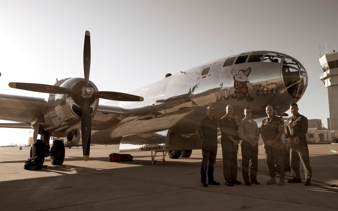 Col. Charles Dockery, commanding officer of Marine Corps Air Station Miramar, and family join the B-29 Superfortress 'Doc' crew for an exclusive tour at MCAS Miramar Calif, Oct. 2. The 'Doc' is one of the two B-29's that are still capable of flying today and it departed MCAS Miramar on Oct. 3 after being used as a static display during the 2019 MCAS Miramar Air Show.