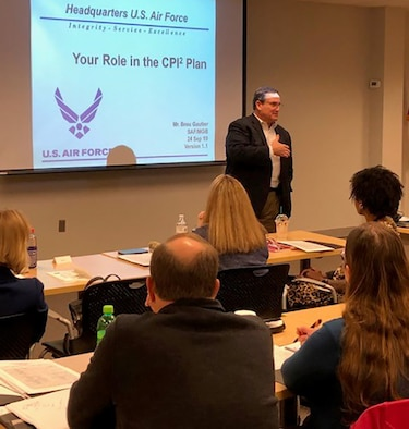 Brou Gautier, Chief, Air Force Continuous Process Improvement Division, discussed with attendees how to improve skill, how important it is to be involved in mentorship and where the future is headed for AFMC and the Air Force at Wright-Patterson Air Force Base, October 4 2019.  (U.S. Air Force photo)