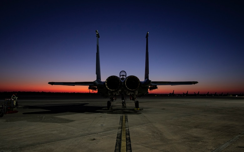 An F-15E Strike Eagle fighter jet assigned to the 422nd Test and Evaluation Squadron, Nellis Air Force Base, Nev., remains parked on the flightline during Combat Archer 19-12 at Tyndall AFB, Fla., Sept. 24, 2019. Combat Archer is part of the 53rd Wing's Weapons System Evaluation Program. (U.S. Air Force photo by Airman 1st Class Bailee A. Darbasie)