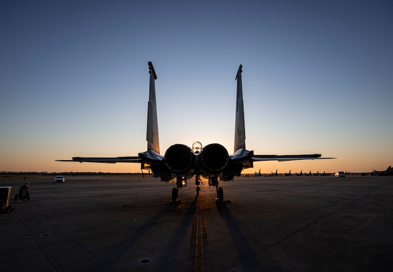 An F-15E Strike Eagle fighter jet assigned to the 422nd Test and Evaluation Squadron, Nellis Air Force Base, Nev., remains parked on the flightline during Combat Archer 19-12 at Tyndall AFB, Fla., Sept. 24, 2019. Combat Archer is the Department of Defense's largest air-to-air live fire missile employment exercise. (U.S. Air Force photo by Airman 1st Class Bailee A. Darbasie)