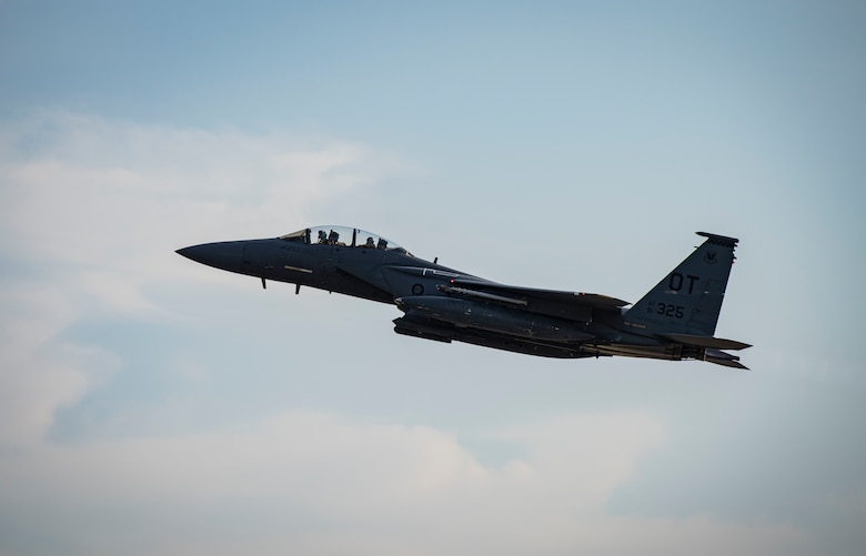 An F-15E Strike Eagle fighter jet assigned to the 422nd Test and Evaluation Squadron, Nellis Air Force Base, Nev., takes off during Combat Archer 19-12 at Tyndall AFB, Fla., Sept. 24, 2019. The F-15E is a dual-role fighter designed to perform air-to-air and air-to-ground missions. (U.S. Air Force photo by Airman 1st Class Bailee A. Darbasie)